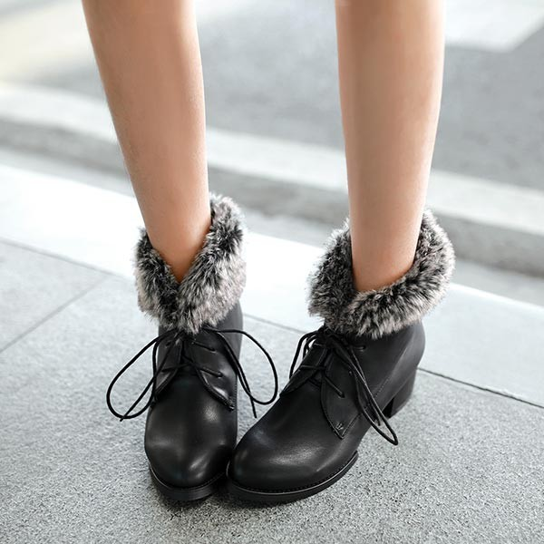 2014 winter sexy low heel women snow boots women's Lace up casual snow boots real rabbit fur Pointed Toe chunky heel ankle boots