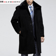 S-5XL men's winter models thick wool coat with fur collar middle-aged men in the long coat woolen coat(China (Mainland))