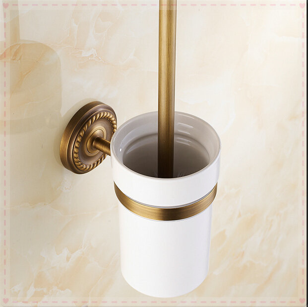 Wall Mounted Toilet Brush Holder Antique Brass Bathroom Accessories With Ceramic Cup Toilet