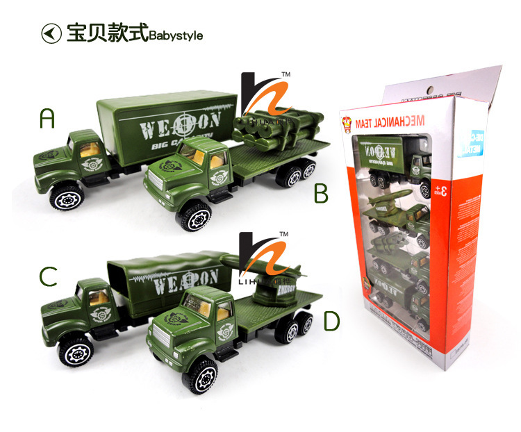 1:64 4pcs a set military trucks for boy with metal and plastic sliding truck model(China (Mainland))