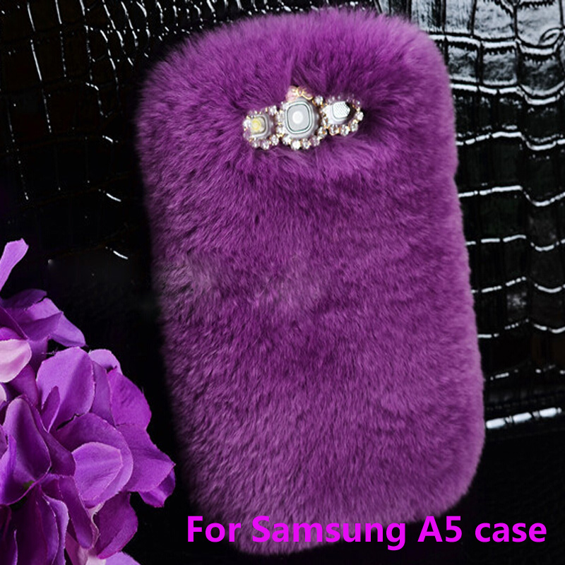 LH Free Shipping for samsung galaxy A5A5000 Top Quality Real rabbit hair case Fur Rhinestone Bling Plush Furry Hard Case(China (Mainland))
