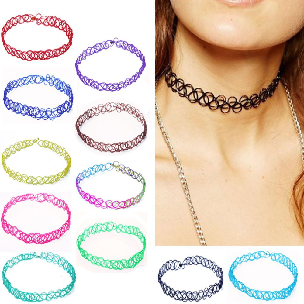 Wholesale Fashion Elastic Vintage Stretch Tattoo Choker Necklace Retro Gothic Punk Elastic 80s 90s vogue 11 Colors Free Shipping