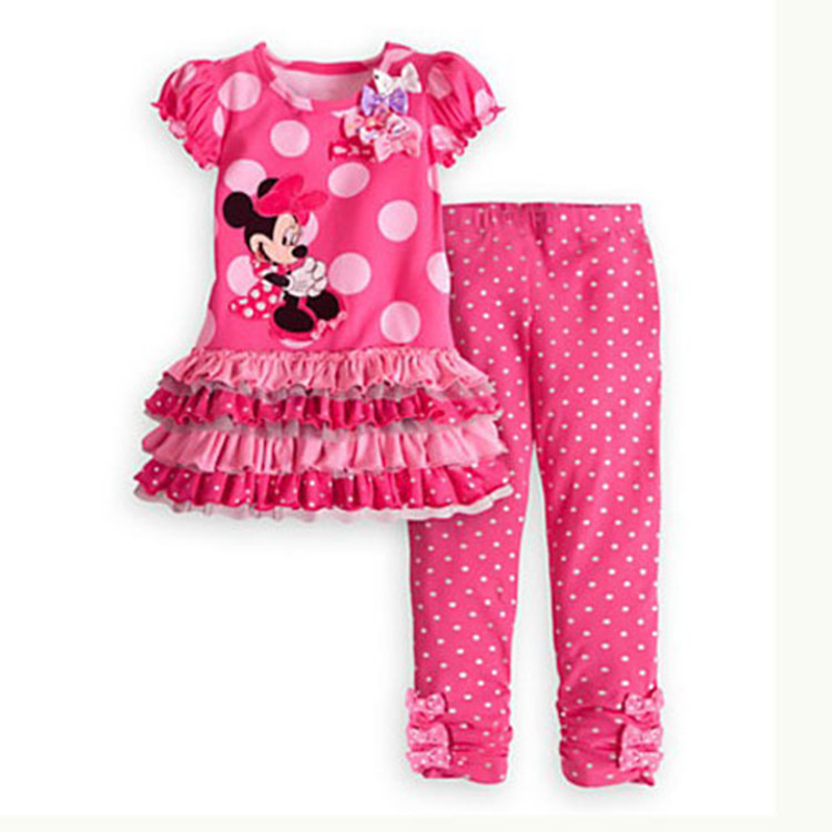 Retail New 2015 Cartoon minnie mouse children clothing set 2 pcs suit girl's dot dress tops shirts + pants suits outfits(China (Mainland))