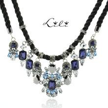 2014 new fashion rhinestone strand rope choker statement pendant necklace blue long design costume body colar women jewelry gift