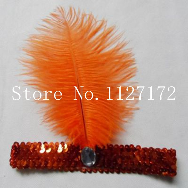 Freeshipping Orange color Fashion Paillette Sequin 5pcs/lot Ostrich Feather Head piece Headwear Hair Band Headband(China (Mainland))