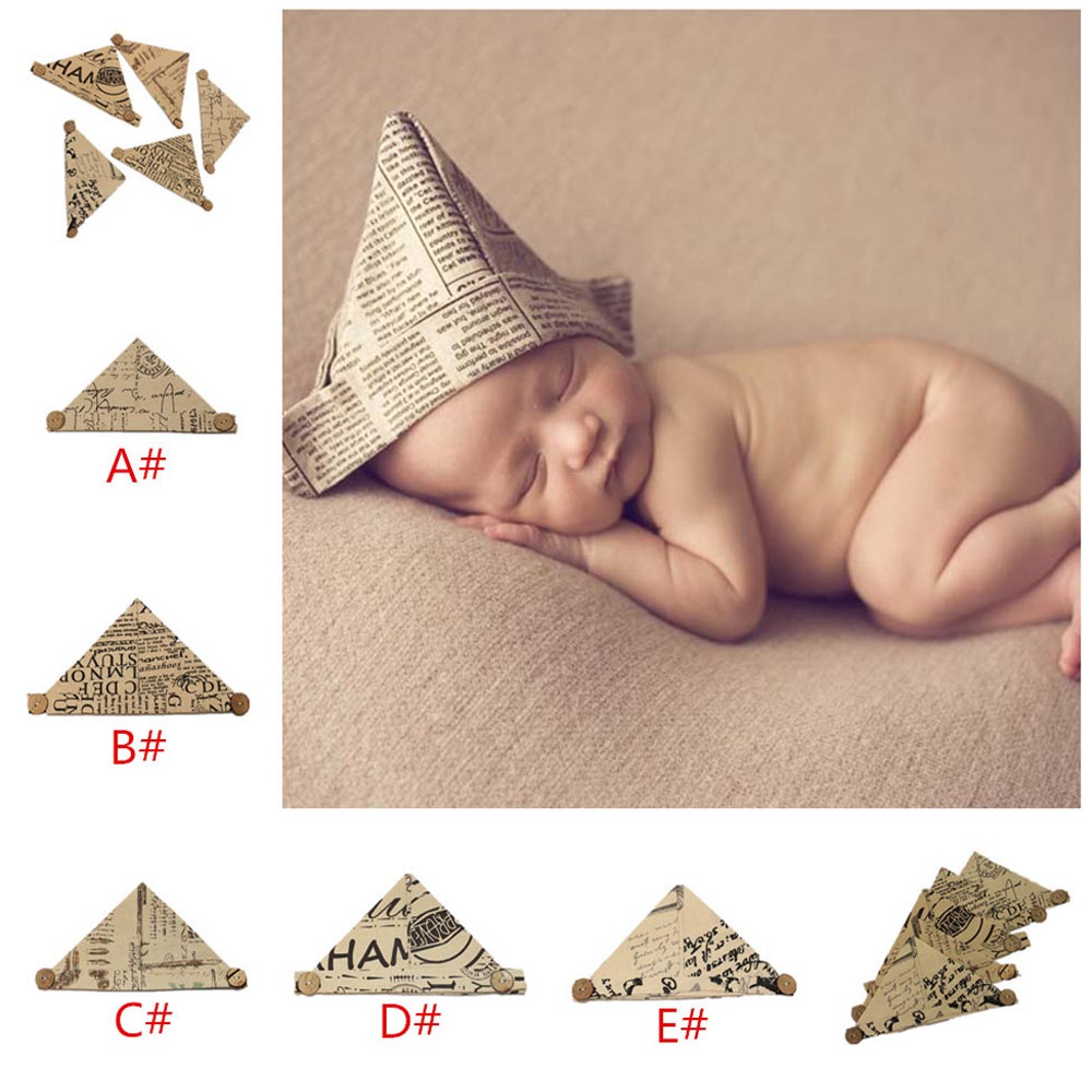 2016 New Arrival Handmade Linen Newspaper style Baby Hat Caps Paper Shape Infant Hat Newborn Photography Props(China (Mainland))