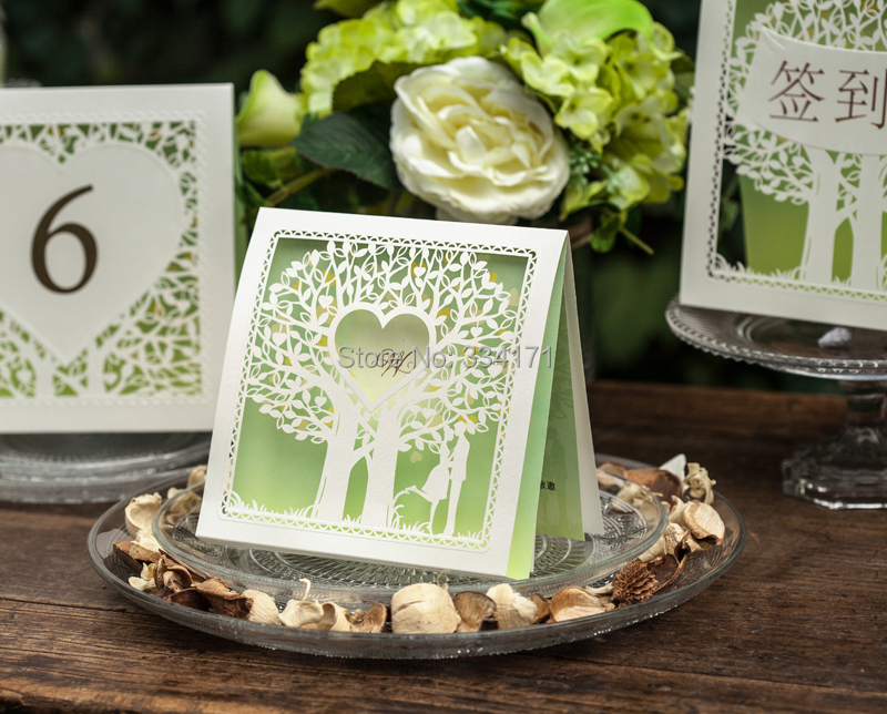 2014 spring new 50pcs/set free envelop and free seal green top fold laser cut loving tree Wedding Invitation CW039(China (Mainland))