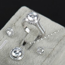 90% off Wedding ceremony Jewellery Units for Brides 925 Sterling Silver AAAAA Degree CZ Stud Earrings Ring Necklace Bridal Jewellery Set