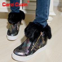Mujeres verdadera del cuero genuino plana a media pierna botas de invierno de algodón método dos medio corto nieve calzado zapatos R8278 tamaño 34-39(China (Mainland))