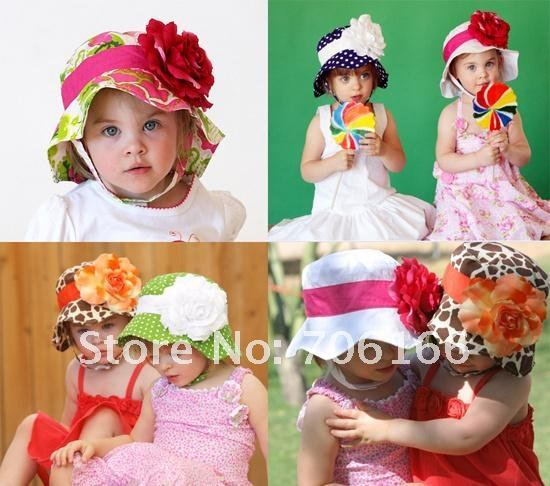 HK NEWEST baby sun hat /flower cap  /children hat  sun hat wholesale Have 18 kinds of style +CPAM free shipping