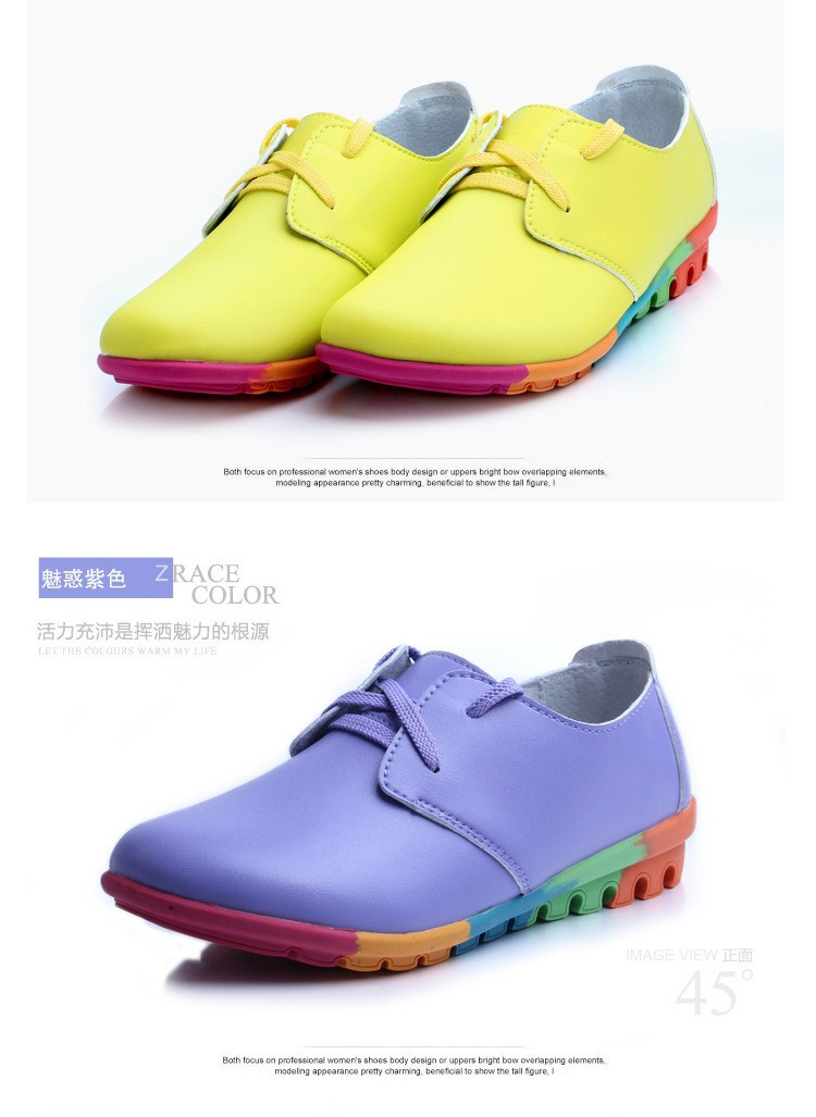 Colorful fashion women's  leisure shoes women genuine leather shoes woman flats  zapatos mujer chaussure femme