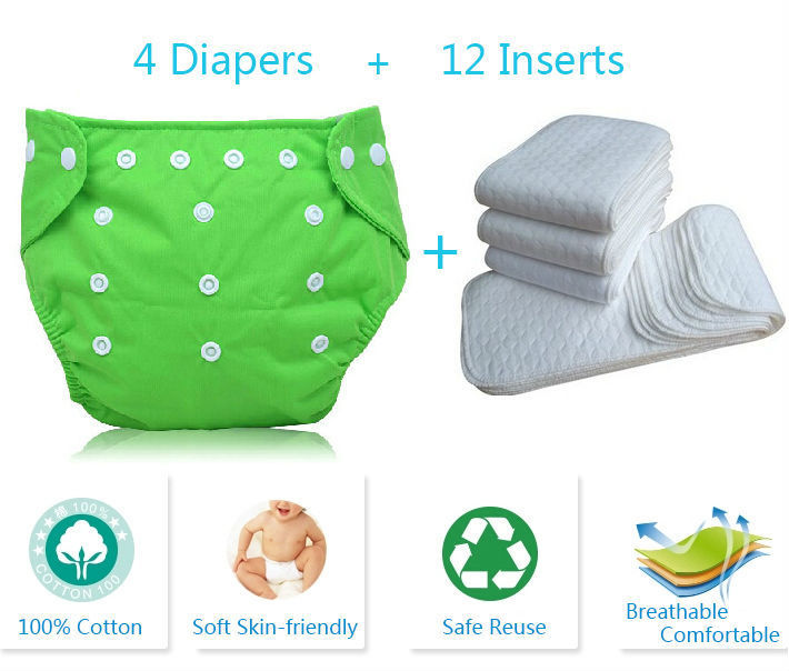 16 pcs Kid Adjustable Reusable Baby Diapers Cotton Cloth Nappy Diapers Washable Baby Diapers Baby Cloth Diaper With Inserts(China (Mainland))