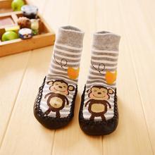 2016 New Style Children Toddler Cartoon Socks Baby Boy Girl Kid Indoor Floor Sock Leather Sole Anti Slip Sock Cute Animal Design(China (Mainland))