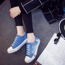 2016 Spring Women Casual Shoes Washed Denim Canvas Shoes Solid Color Zip Wear High Quality Girls' Shoes Flat Shoes Size 35-40
