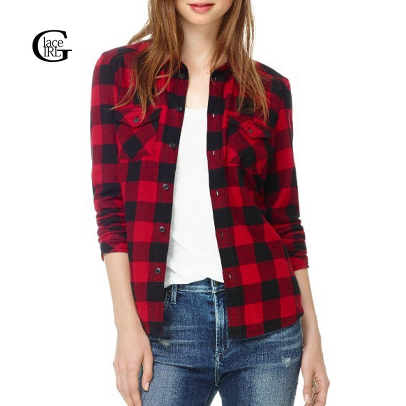 Lacegirl new autumn women casual retro plaid blouses Womens red plaid shirts blouses