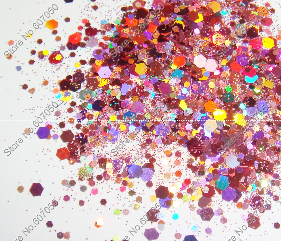 50gram/bag x Mixed Laser Rose Pink Colors Glitter Hexagon Paillette Spangles Shape for Nail Art Decoration&Glitter Crafts(China (Mainland))