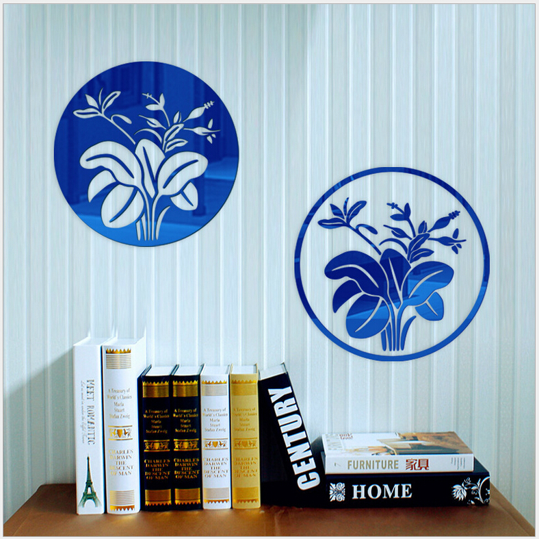 30 30CM Banana Leaf Mirror Sticker Acrylic DIY Home Decor