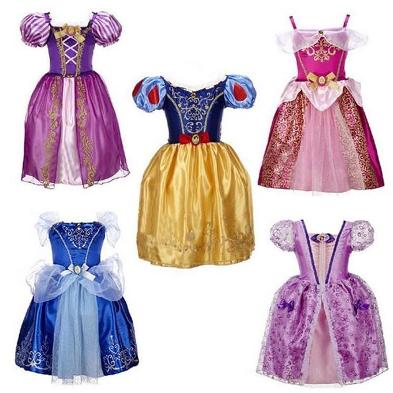2016 Baby Girls Cinderella Dresses Children Snow White Princess Dresses Rapunzel Aurora Kids Party Costume Clothes Free shipping(China (Mainland))