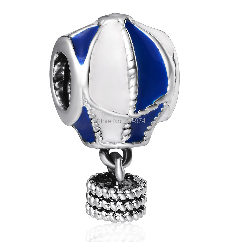 Wholesale Air Balloon Enamel Pendant Charm 925 Sterling Silver European Charms Beads Fit diy Snake Chain Bracelet Women Jewelry(China (Mainland))