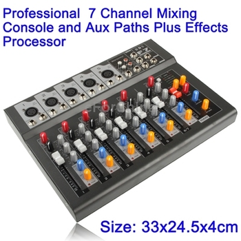 High Quality Professional 7 Channel Mixing Console and Aux Paths Plus Effects Processor