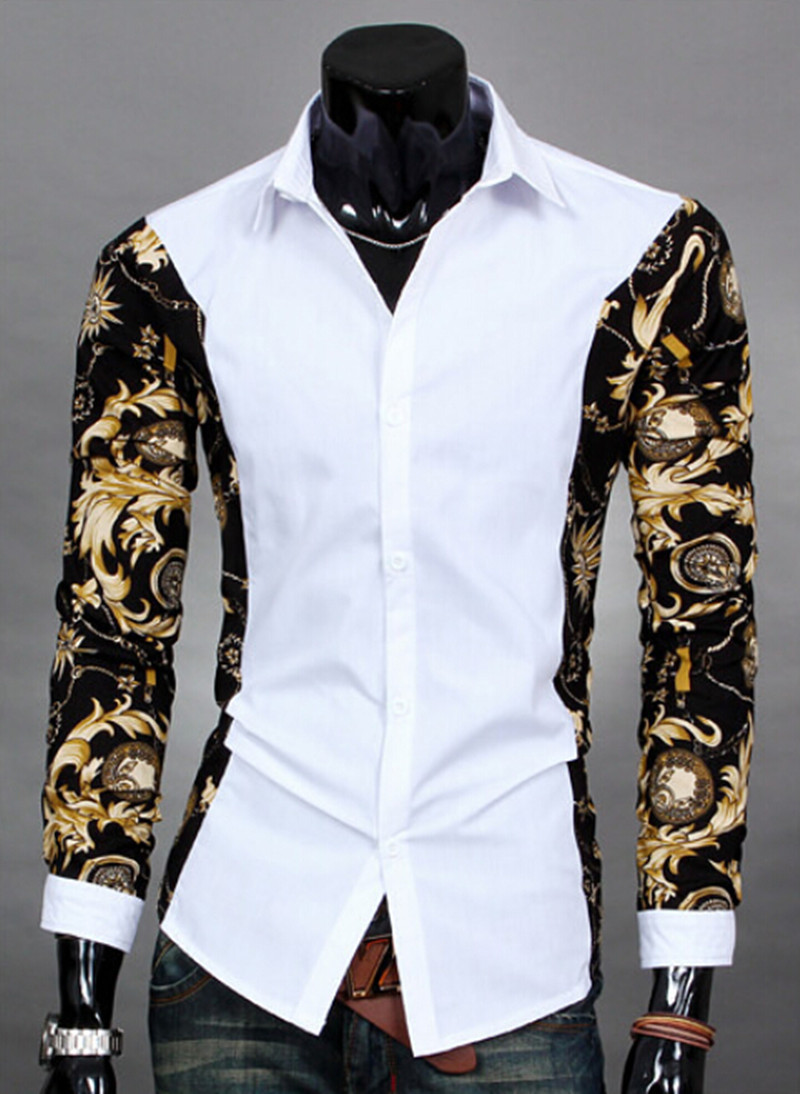 2014 New Printed Camisa Masculina Fashion Cotton Designer