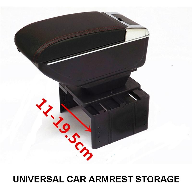 FREE SHIP BIGGER SPACE&LUXURY Car armrest box central Storage content box with cup holder & LED for universal Armrest all of car