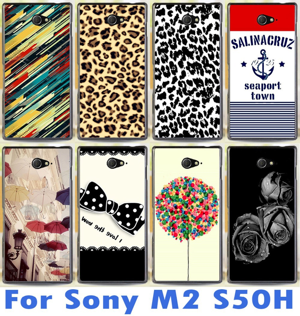 top quality for Sony Xperia M2 S50h Dual D2302 D2305 D2303 D2306 loverly cute pattern mobile phone case protective case(China (Mainland))