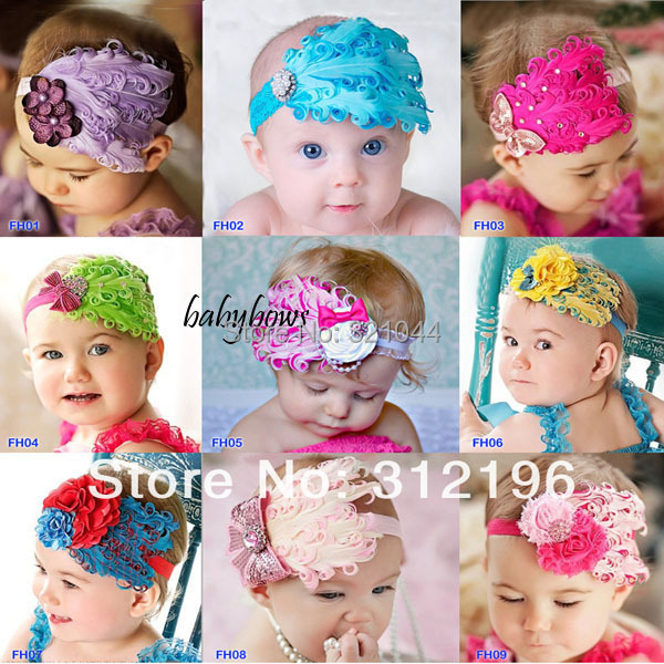 Boutique Peacock Feather Hairband Plastic Hair Bands Infant Headband Baby Toddler Cute Elastic Headbands Hair Accessories(China (Mainland))