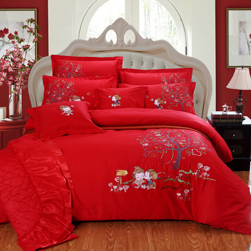 4pc/5pc/6pc/7pc Embroidered bird and flower pattern bedding set hot sale bed sheet quilt cover set(China (Mainland))