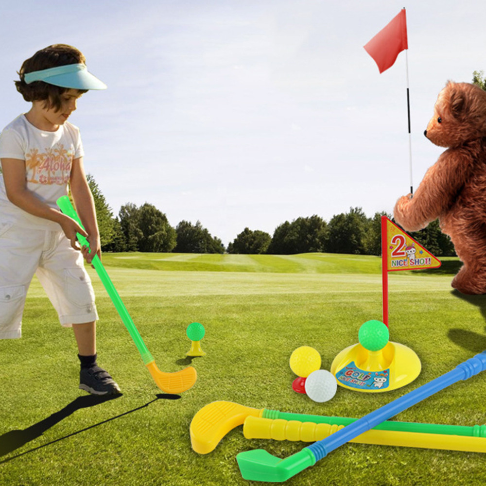 HW2016 NEW arrival Hot Selling 1 Set Multicolor Plastic Golf Toys for Children Outdoor Backyard Sport Game(China (Mainland))