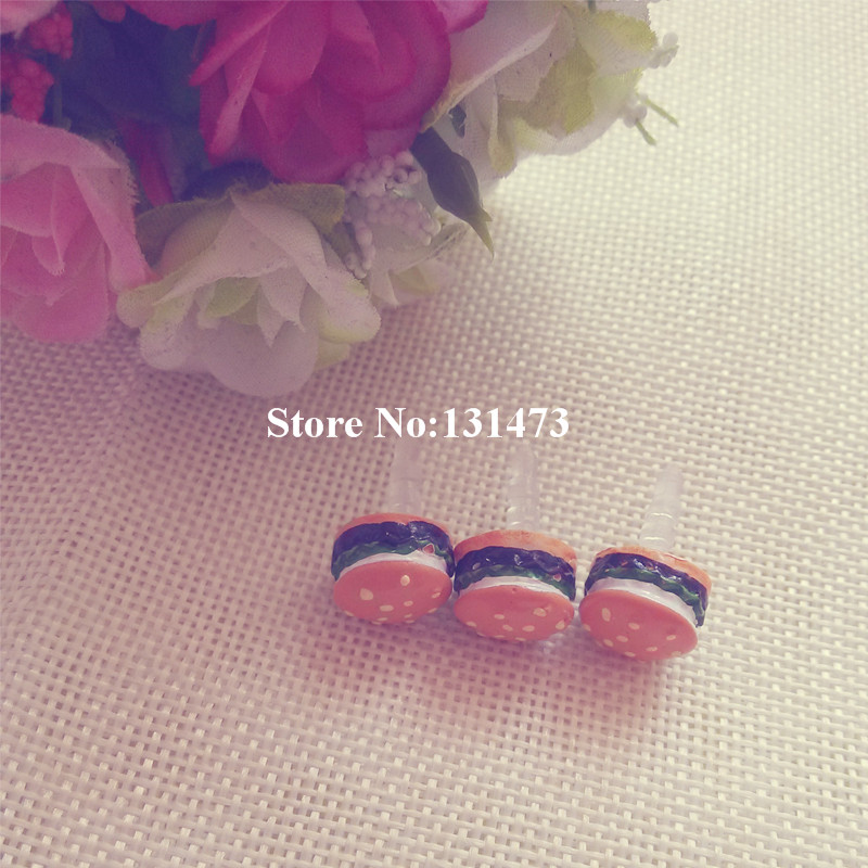 5pcs/lot Cute Simulated Hamburger Phone Anti Dust Plug Cell Phone Accessories For Iphone4 5 6 3.5mm Earphone Jack Plug(China (Mainland))