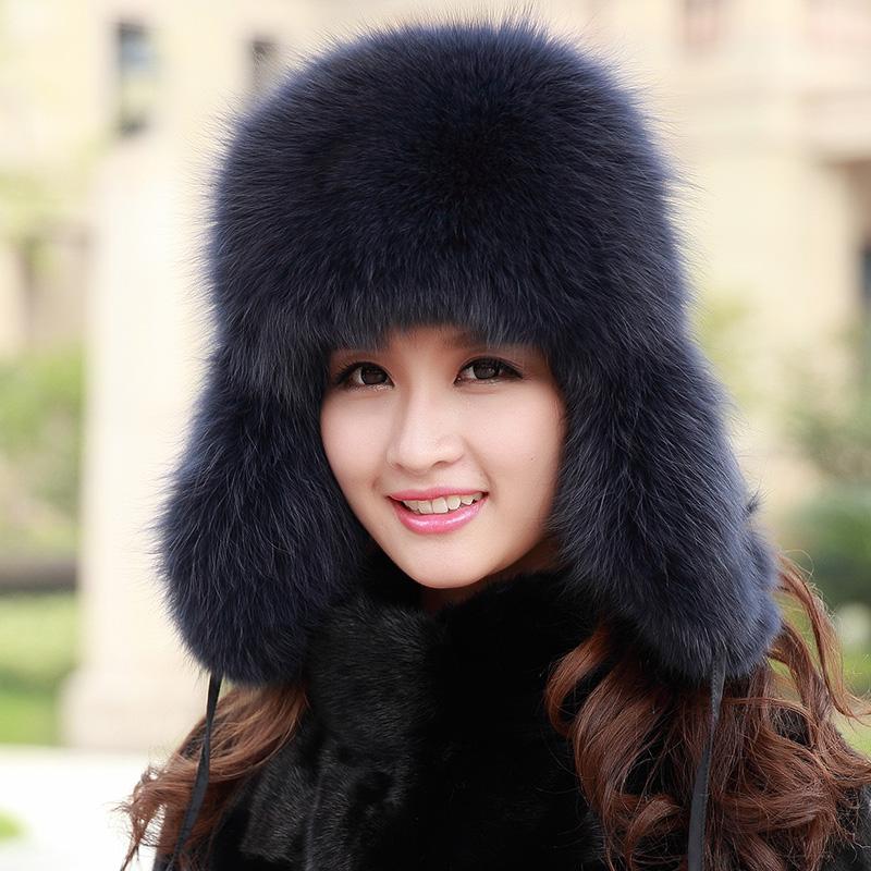 Winter women's fox fur hat, Trapper's fox skin hat, Free shipping(China (Mainland))