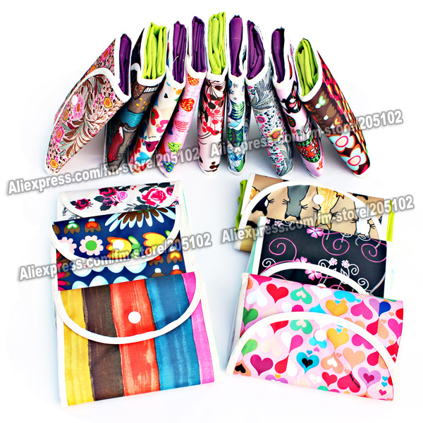 5pcs/lot Fashion Nonwoven fabrics folding shopping bag&Jacquard folded pouch,many color patterns mixed sales foldable handbag