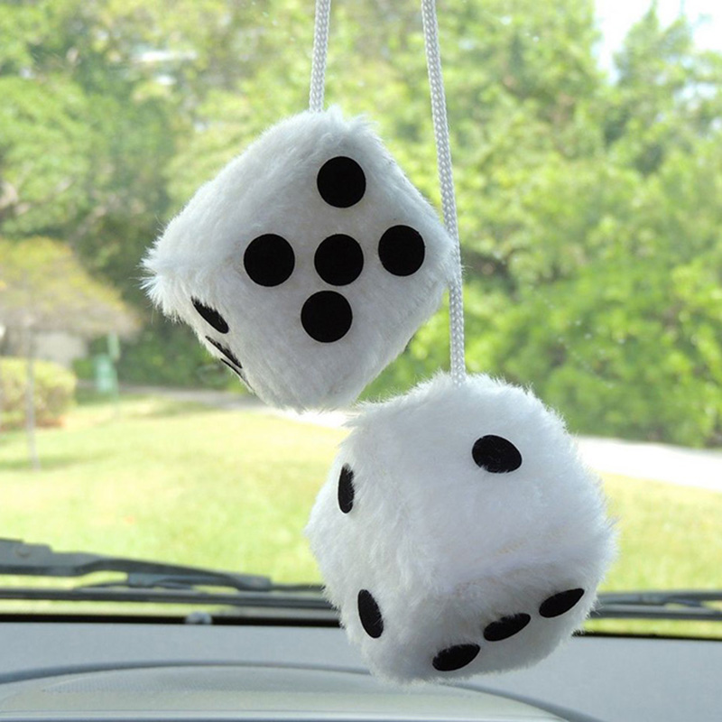 buy 2pcs lot white car hanging mirror styling plush fuzzy funny dice. Black Bedroom Furniture Sets. Home Design Ideas