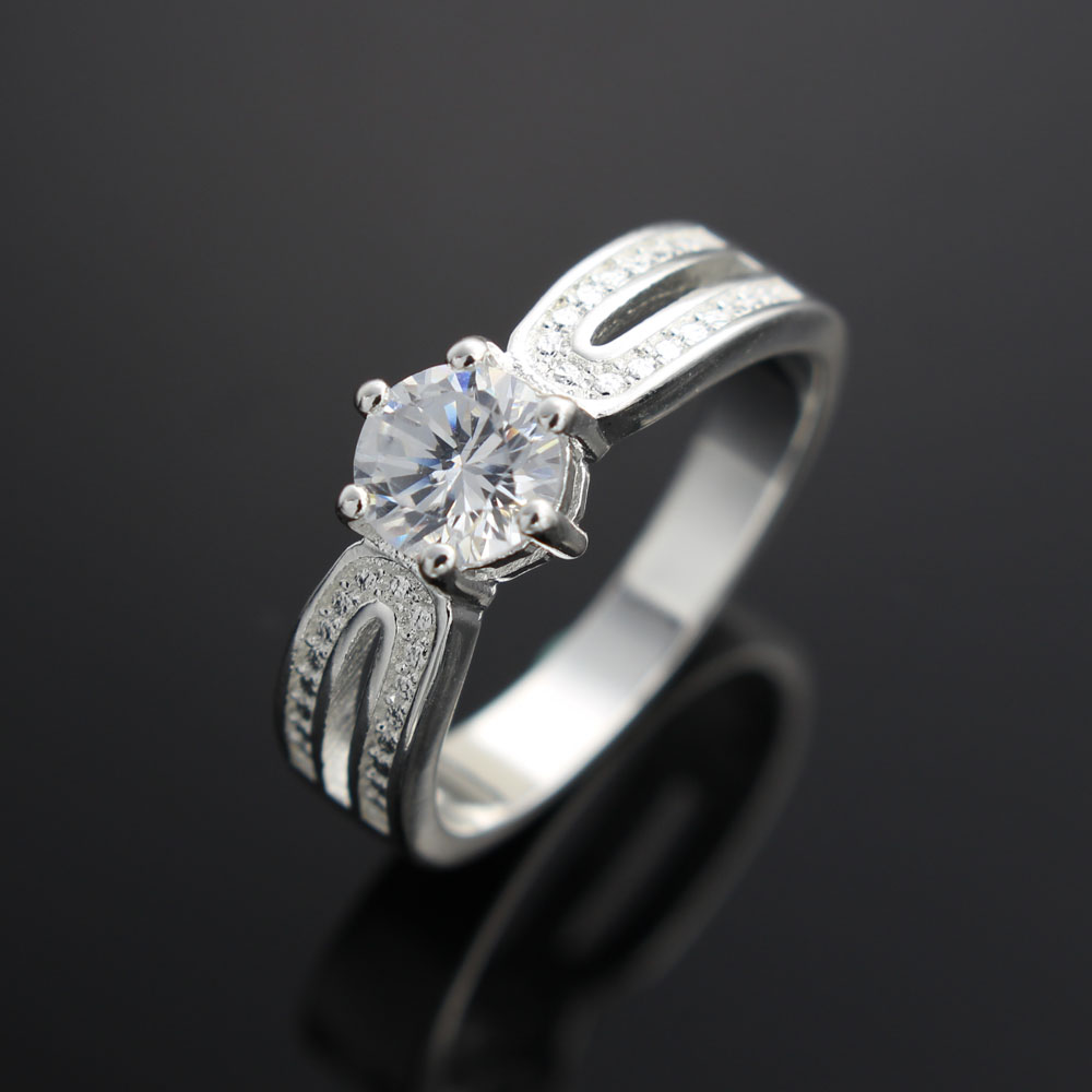 2016 Top Finger Ring Real Sliver Plated 2 Row With Cubic Zircon Wide Ring Fashion Jewelry Wholesale Jewelry For Women(China (Mainland))