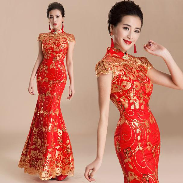 Fashion new 2014 cheongsam vintage mermaid wedding dresses for Traditional red chinese wedding dress