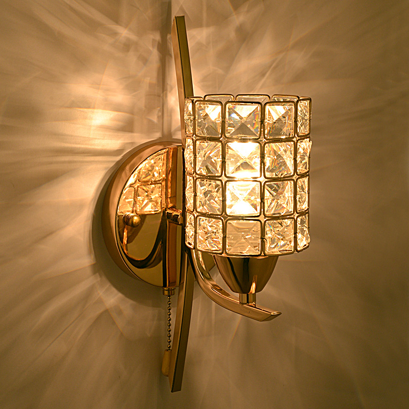 Modern crystal led wall light for home hotel aisle bedroom for Led bedroom wall lights