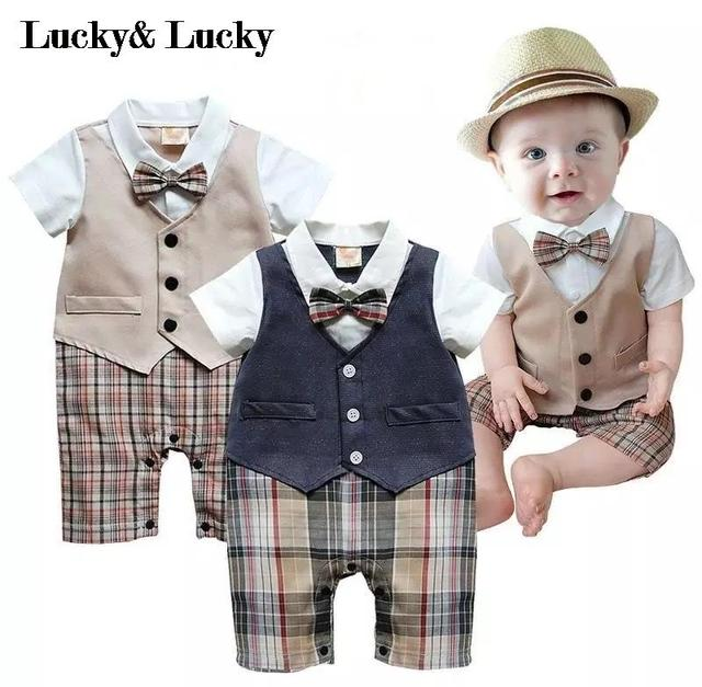 Джентльмен ребенок новый стиль с коротким рукавом свадьбы и партии мальчиков одежда вырезать комбинезон новорожденного одежды