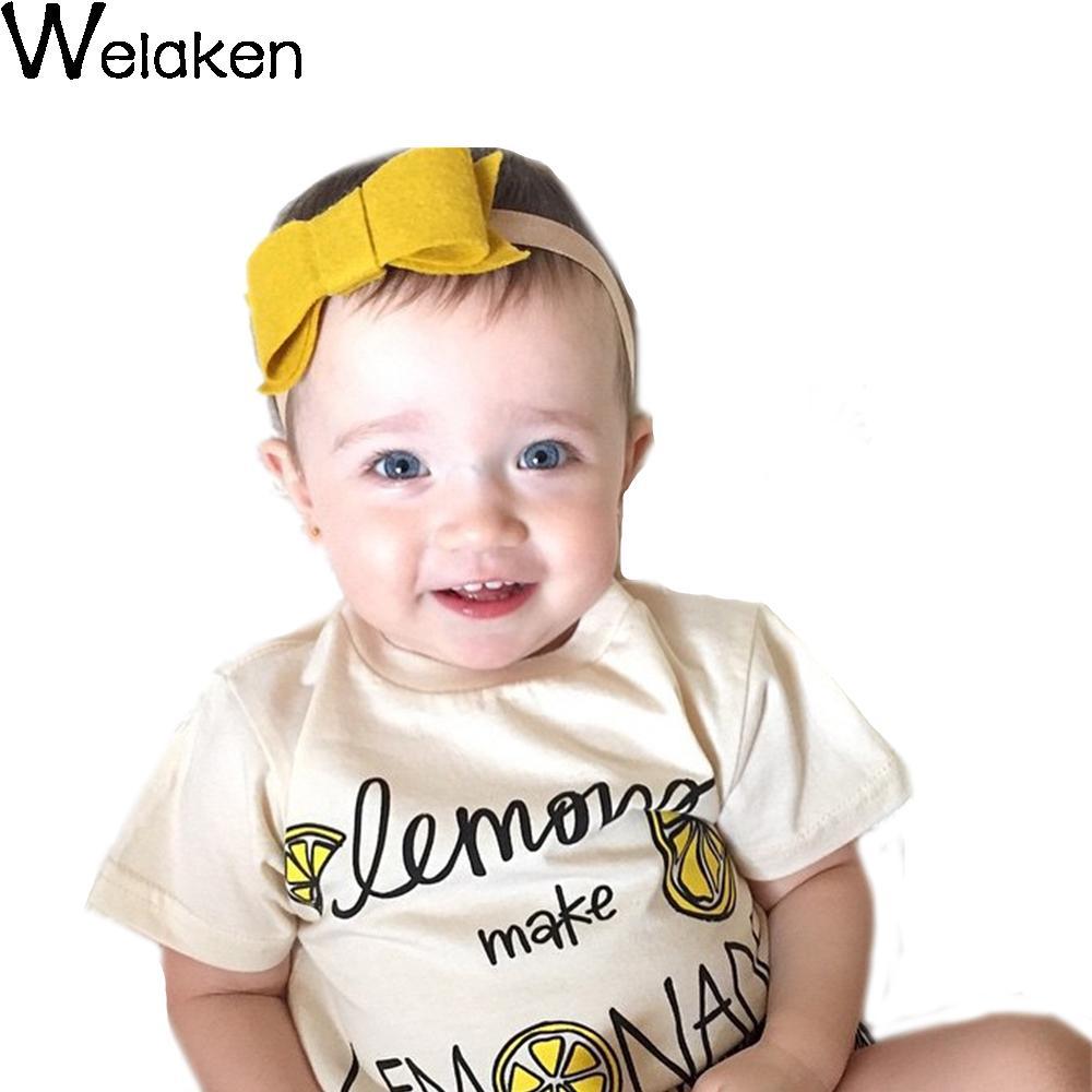 Hot Sale 2016 Children T Shirt Cotton O Neck Short Sleeve Lemon Print Kids Tops Summer