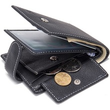 Buy Dollar Price Men Wallets Genuine Cow Leather Wallets Famous Brand Coin Pocket Thin Purse Card Holder Fashion Slim wallet for $6.69 in AliExpress store