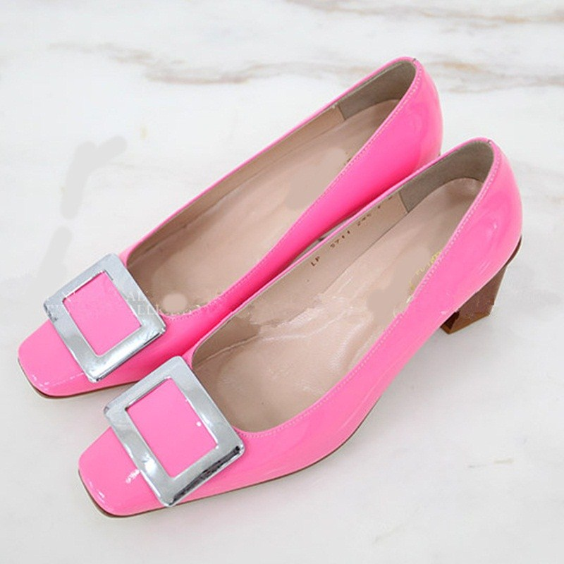 Spring/Autumn summer Square Toe Charm high heels black pink colors comfortable women shoes