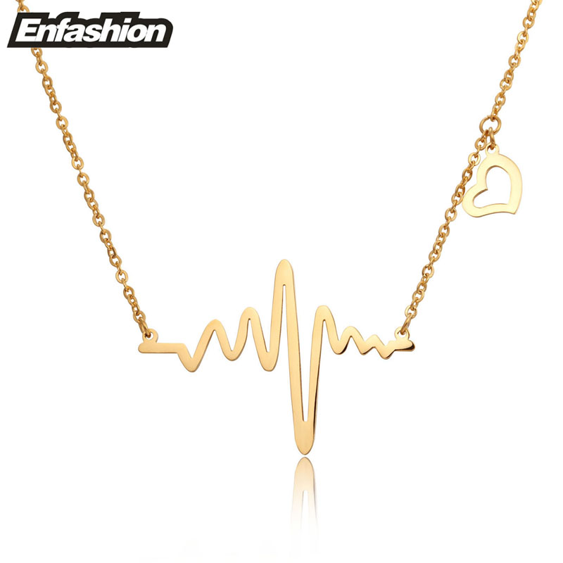 Fashion heartbeat necklace women pendant necklace 18k rose for Stainless steel jewelry necklace