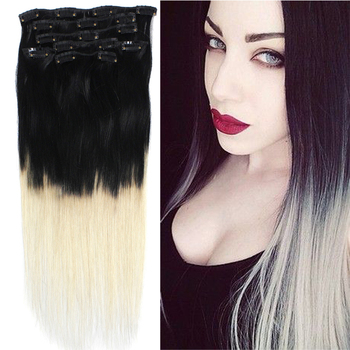 18'' 70grams Ombre Hair Color #1/613 Black to White Blonde Balayage Natural Clip ins Extensions