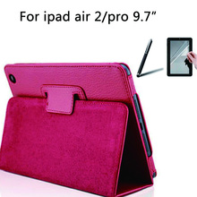 """For Apple iPad Pro 9.7"""" Case PU Leather Slim Flip Folio Smart Cover case Holder Auto For iPad air 2 + Stylus+Screen protector(China (Mainland))"""
