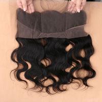 Dhl شحن 7a الشعر البشري البرازيلي الرباط أمامي إغلاق 13x4 مع شعر الطفل شحن الجزء ابيض عقدة عذراء الجسم موجة الدانتيل أمامي
