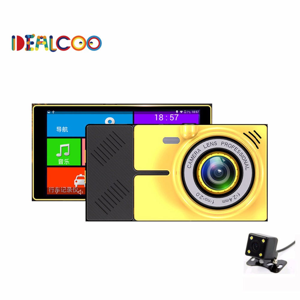 2016 New Dealcoo 4.5 inch Car DVR GPS Navigation Android 1080P DVR 8GB Truck vehicle gps navigator navitel with Rear view camera(China (Mainland))