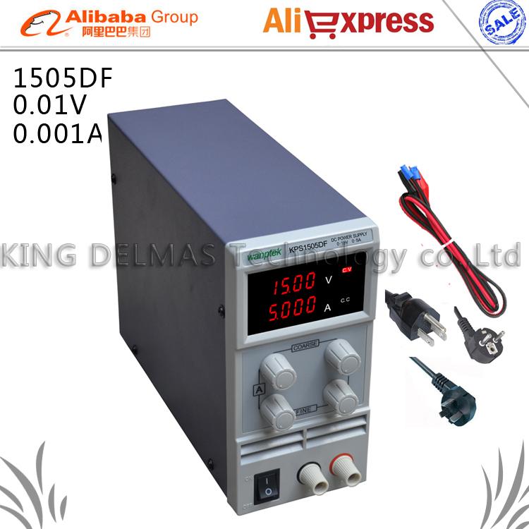 Фотография KPS-1505DF 0-15V/0-5A 110V-220V 0.01V/0.001A EU LED Mini Adjustable Digital DC power supply mA display FOr US/EU/AU Plug