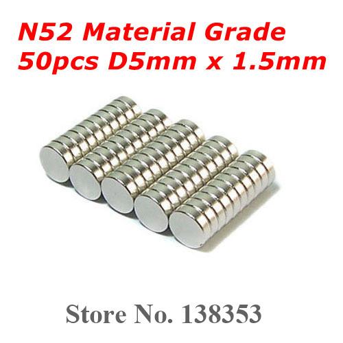50pcs Bulk Super Strong N50 N52 Neodymium Disc Magnets Dia 5mm x 1.5mm Small Round Rare Earth NdFeB Magnet Sheets(China (Mainland))