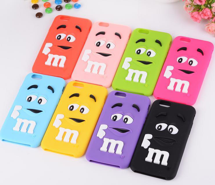 Newest Bulk Price Cute M&M Chocolate Rainbow Bean Design Silicone Soft Case for iPhone6 4.7
