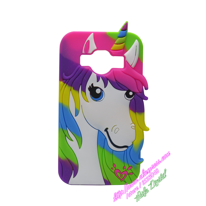 For Samsung Galaxy J1 Ace J110 Phone Case Cute 3D Cartoon Colorful Unicorn Horse Silicone Cover For Samsung Galaxy J1 Ace J110(China (Mainland))